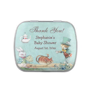 Mad Hatter Wonderland Baby Shower Thank You Favor Jelly Belly Tins