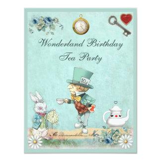 Mad Hatter Wonderland Birthday Tea Party 11 Cm X 14 Cm Invitation Card