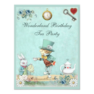 Mad Hatter Wonderland Birthday Tea Party Card