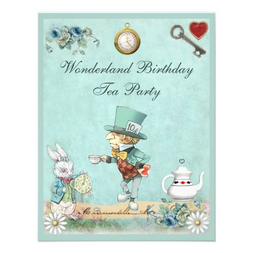 Mad Hatter Wonderland Birthday Tea Party Personalized Invite