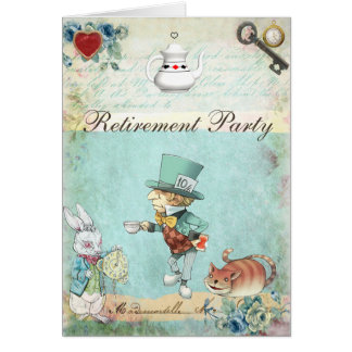 Mad Hatter Wonderland Retirement Party Card
