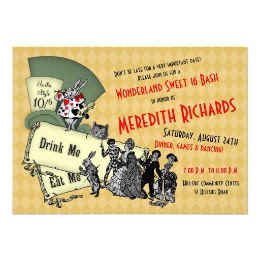 Mad Hatter Wonderland Sweet 16 Birthday Invitation