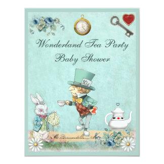 Mad Hatter Wonderland Tea Party Baby Shower 11 Cm X 14 Cm Invitation Card