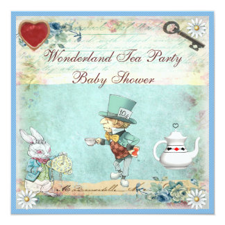 Mad Hatter Wonderland Tea Party Baby Shower Card