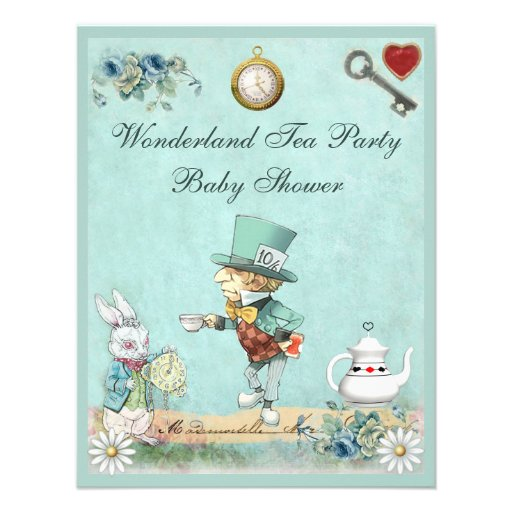 Mad Hatter Wonderland Tea Party Baby Shower Announcements