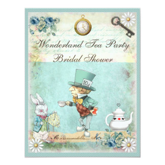 Mad Hatter Wonderland Tea Party Bridal Shower 11 Cm X 14 Cm Invitation Card