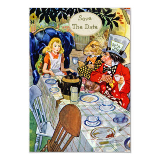 Mad Hatter's Tea Party Wedding Save the Date Card