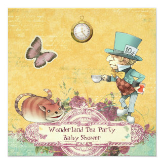Mad Hatter's Wonderland Tea Party Baby Shower 13 Cm X 13 Cm Square Invitation Card
