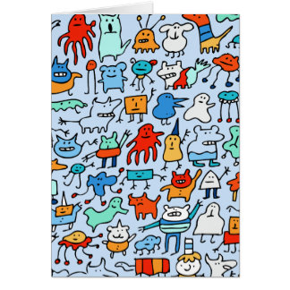 Mad Monster Friends Card (Blue)