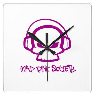 Mad Pink Society Square Wall Clock