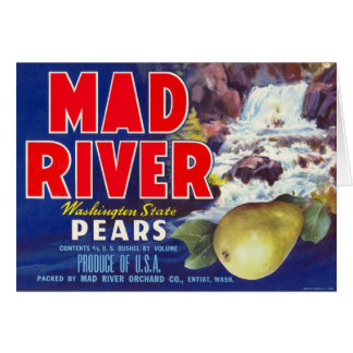 Mad River Pears - Vintage Fruit Crate Label Greeting Card