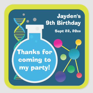 Mad Science Lab Birthday Party Favor Square Sticker