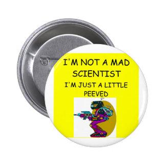 mad scientist 6 cm round badge
