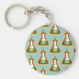 Mad Scientist Beakers Basic Round Button Key Ring
