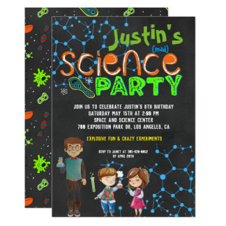 Mad Scientist Birthday Party Card