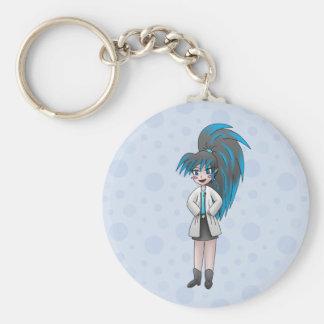 mad scientist girl keychain