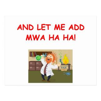 mad scientist joke postcard