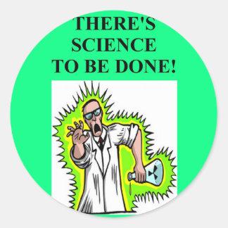 mad scientist joke round sticker