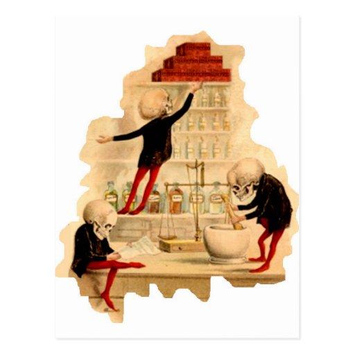 Mad Scientist Skeletons Post Cards
