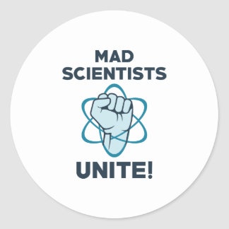 Mad Scientists Unite Classic Round Sticker