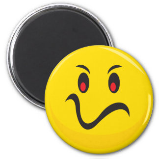 mad smiley face 6 cm round magnet