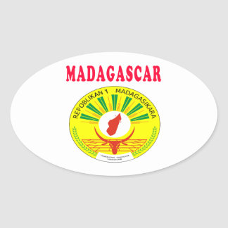 Madagascar Coat Of Arms Designs Oval Sticker