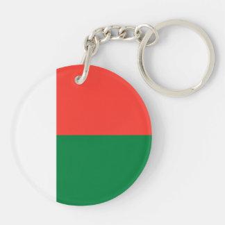 Madagascar Flag Double-Sided Round Acrylic Key Ring