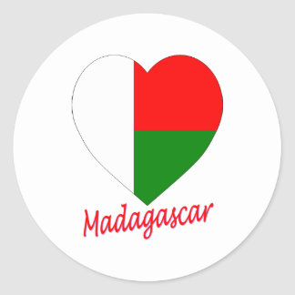 Madagascar Flag Heart Classic Round Sticker