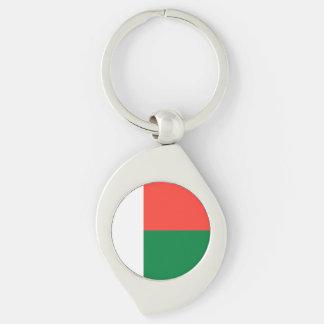 Madagascar Flag Silver-Colored Swirl Key Ring