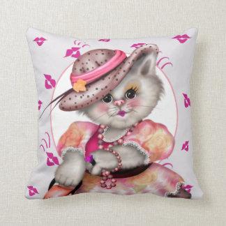"""MADAME CAT 2 Throw Pillow 16"""" X 16"""""""