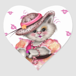 Madame cat CARTOON AutoCollant Sticker HEAR  1½ in