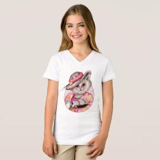 MADAME CAT  CARTOON Girls' Fine Jersey V-Neck T-Sh T-Shirt