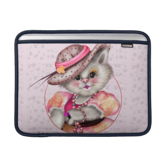 "MADAME CAT CUTE CARTOON Macbook Air 13"" HORIZONTAL Sleeve For MacBook Air"