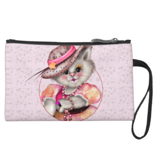MADAME CAT Sueded Mini Clutch Bag Wristlet Clutches