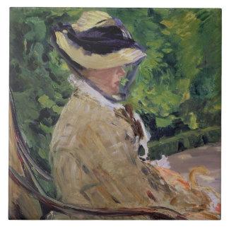 Madame Manet at Bellevue Large Square Tile