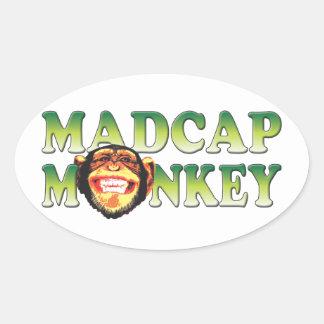 Madcap Monkey Oval Sticker