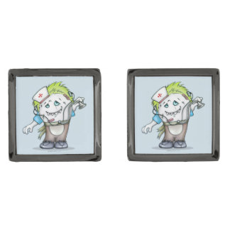 MADDI ALIEN CARTOON Square Cufflinks METAL Gunmetal Finish Cufflinks