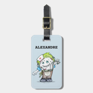 MADDI ALIEN MONSTER Luggage Tag w/ leather strap