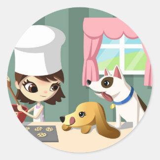 Maddi and the Hungry Pups Round Sticker