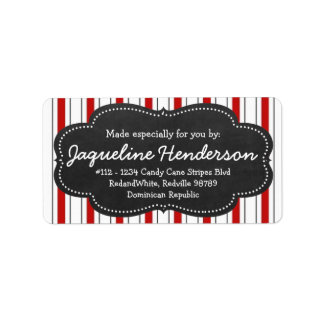 Made for you by  Personalized Red stripes Address Label