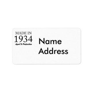 Made In 1934 Address Label