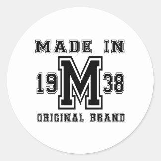 MADE IN 1938 ORIGINAL BRAND BIRTHDAY DESIGNS CLASSIC ROUND STICKER