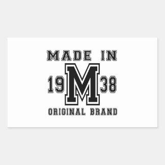 MADE IN 1938 ORIGINAL BRAND BIRTHDAY DESIGNS RECTANGULAR STICKER