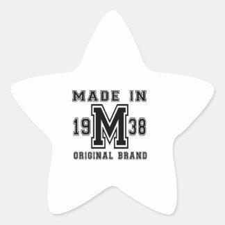 MADE IN 1938 ORIGINAL BRAND BIRTHDAY DESIGNS STAR STICKER