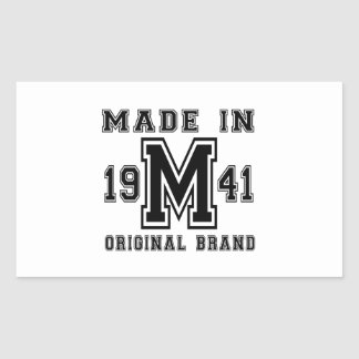 MADE IN 1941 ORIGINAL BRAND BIRTHDAY DESIGNS RECTANGULAR STICKER