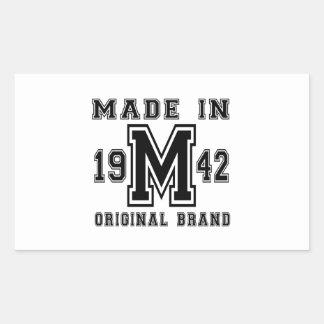 MADE IN 1942 ORIGINAL BRAND BIRTHDAY DESIGNS RECTANGULAR STICKER