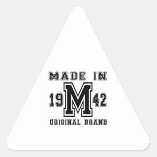 MADE IN 1942 ORIGINAL BRAND BIRTHDAY DESIGNS TRIANGLE STICKER