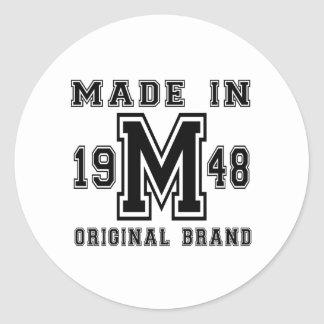 MADE IN 1948 ORIGINAL BRAND BIRTHDAY DESIGNS CLASSIC ROUND STICKER