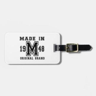 MADE IN 1948 ORIGINAL BRAND BIRTHDAY DESIGNS LUGGAGE TAG