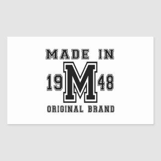 MADE IN 1948 ORIGINAL BRAND BIRTHDAY DESIGNS RECTANGULAR STICKER